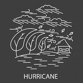 Natural Disaster Hurricane Line Style Banner. Circle Compositions Of Hurricane Disaster On Black. Ve poster