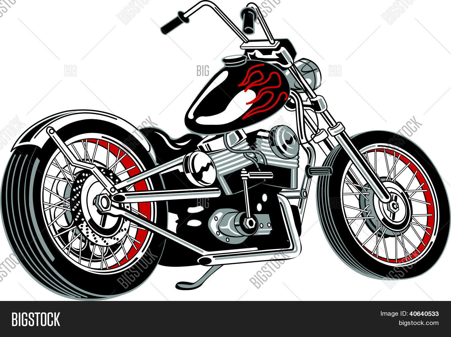 Motorcycle clip art with flames - Motorcycle Clipart