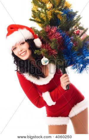 Beautiful Brunette Woman With A Christmas Tree