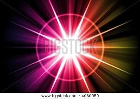 Rainbow Star Sunburst Abstract