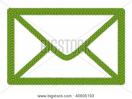 Green Four Leaf Clover Of Envelope Icon