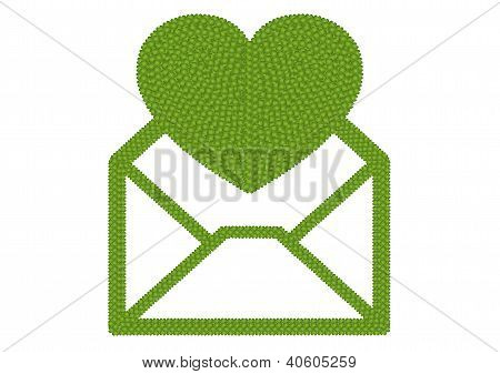 Four Leaf Clover Of Open Envelope Icon With Big Heart