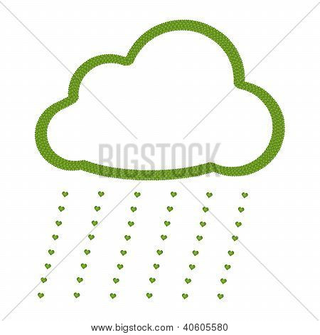A Four Leaf Clover Of Cloud Icon With Heart Rain