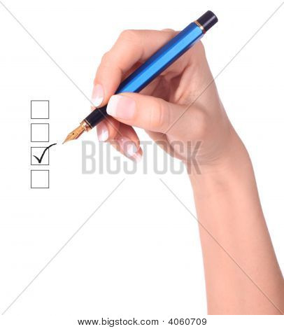 List Of Checkboxes And Hand With Pen