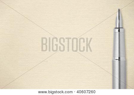 Steel Fountain Pen Ecru Paper Background