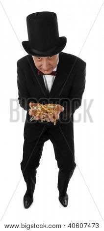 Greedy rich man with hands full of golden jewelry