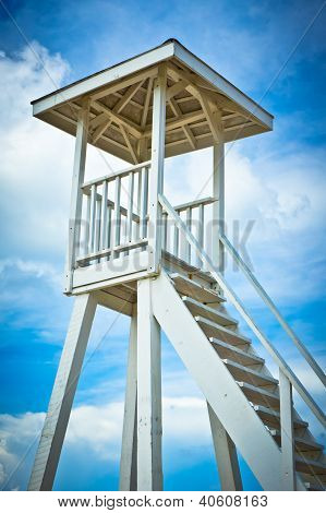 Wooden Lifeguard Tower On Saint Lucia Beach, Caribbean Islands