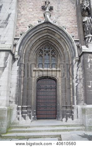 Left Entrance Of The Church Of Saint Peter And Saint Paul. Ostend, Belgium