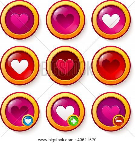 Set of red glass buttons with hearts