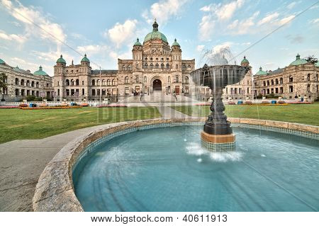 Victoria Parliament Building With Fountain