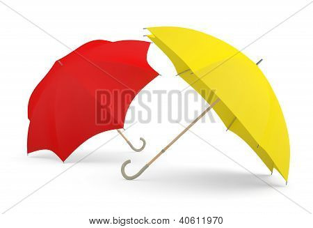 Umbrellas. Two 3D Red And Yellow Models