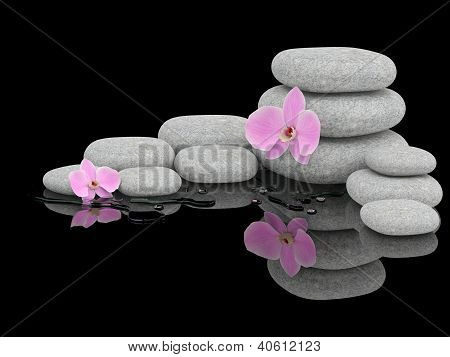 Spa Treatment Concept. Zen Stones And Orchid
