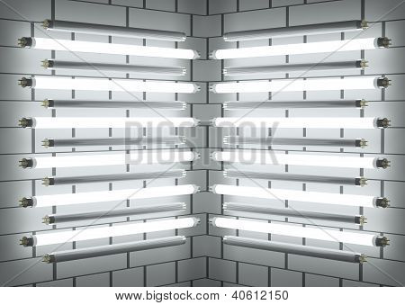 Fluorescent Lamp Tubes On Brick Wall. 3D Illustration