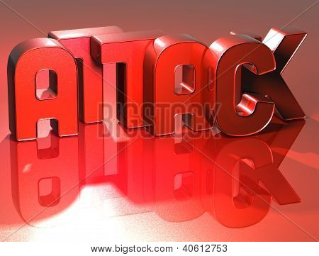 3D Word Attack On Red Background
