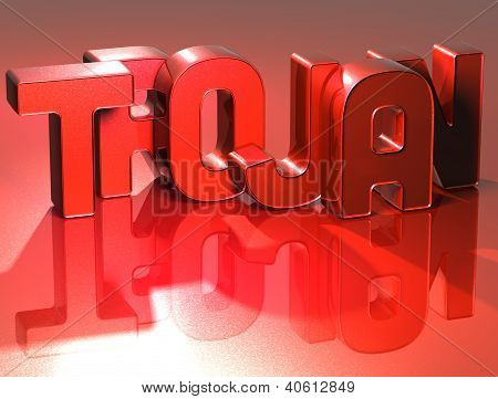 3D Word Trojan On Red Background