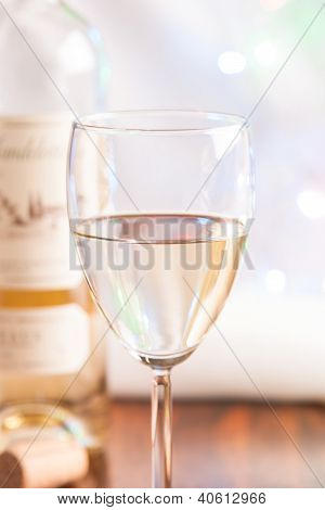 Glass And Bottle White Wine On Blink Light