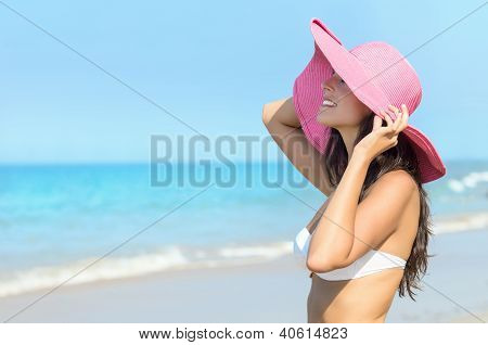 Happy Sexy Woman Summer In Beach