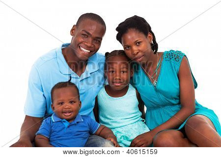 joyful african american family isolated on white