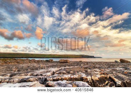 Sunrise at Atlantic ocean in Doolin, Ireland