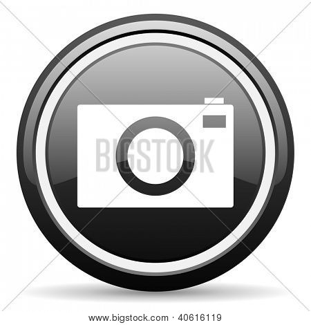 camera black glossy icon on white background