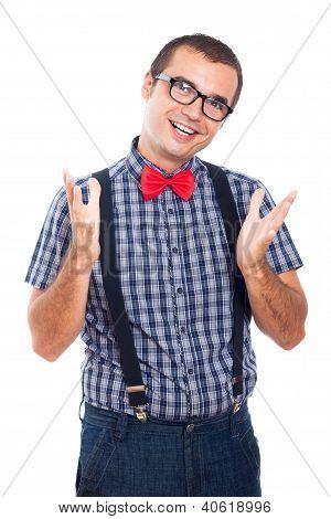 Happy Geek Gesturing