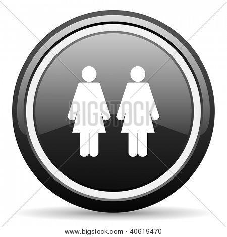 couple black glossy icon on white background