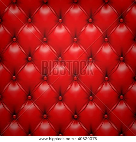 Vector illustration of red realistic upholstery leather pattern background. Eps10.