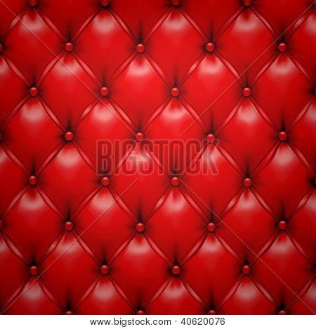Ilustración de vector de fondo rojo realista tapicería de cuero. Eps10.
