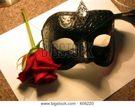 Black Mask With Red Rose