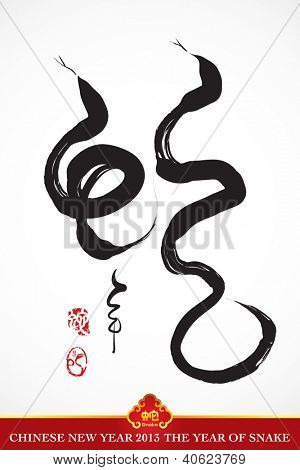 Snake Calligraphy, Chinese New Year 2013 Translation: Snake Year