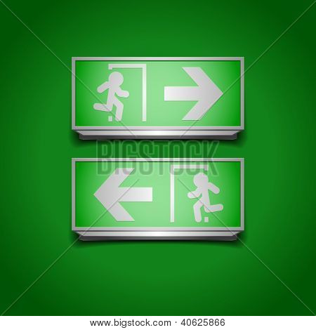 detailed illustration of emergency exit signs