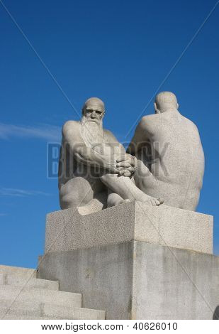Sculpture of Old Men Watching - Vigeland Sculpture Arrangement