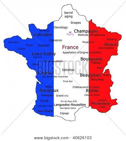 Map of France showing the different wine appellations and various wine terms.