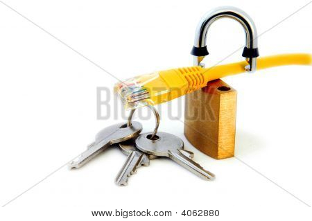 Network Cable, Open Lock And Keys