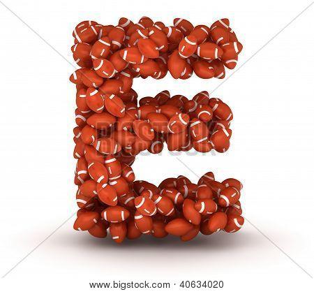 Letter E, American Football Alphabet