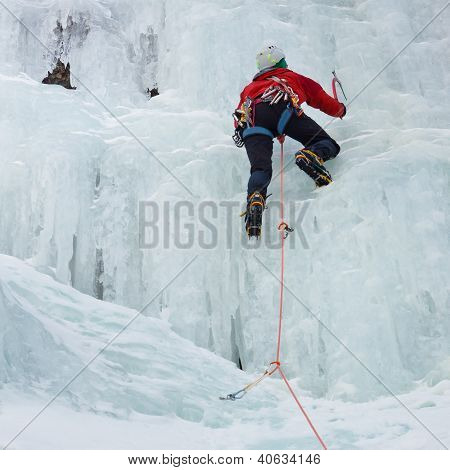 Ice Climber In South Tyrol, Italy