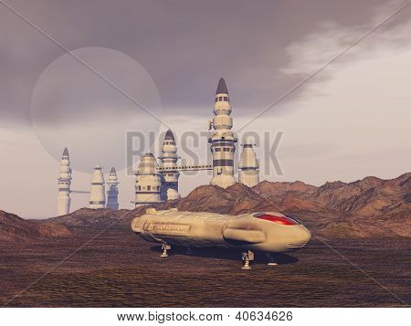 Spacecraft on another planet