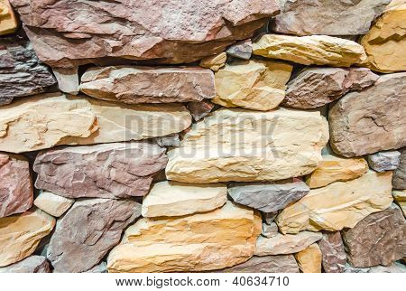 Flat Stones Rock Brick Wall