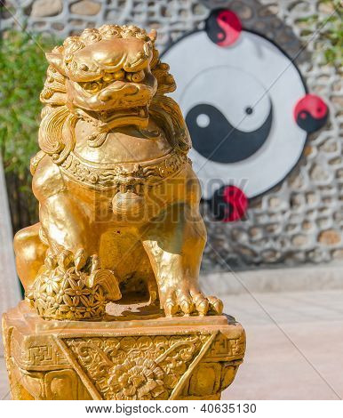 Gold Chinese Lion Sculpture