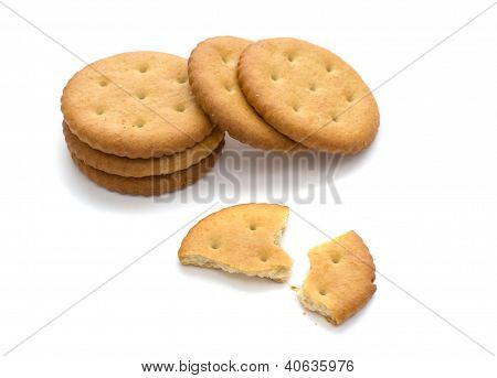 Several Crackers, Isolated On White