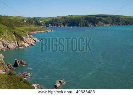 Entrance to River Dart estuary outside Dartmouth Devon England