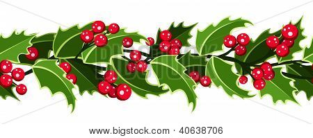 Horizontal seamless background with Christmas holly. Vector illustration.