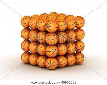 Stack Of Piled Up Basketball Balls