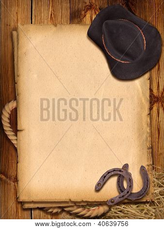 Western Background With Cowboy Hat And Horseshoe.