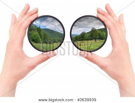 Beautiful Landscape Throw Camera Filter Isolated