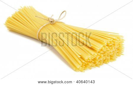Heap of linguine pasta isolated on white background