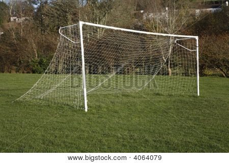 A British Park Football Pitch Goal Posts And Net.