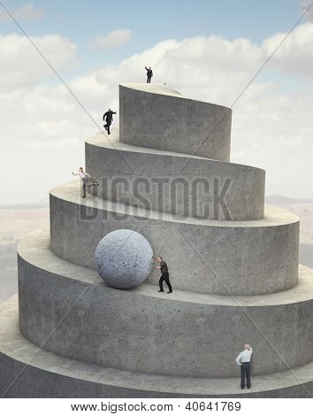 business people on 3d abstract success tower