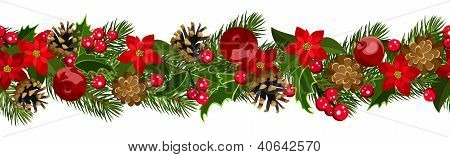 Christmas horizontal seamless background with fir-tree branches, cones, poinsettia and holly.