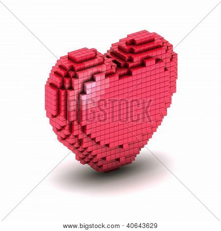 Orthogonal Heart Pixel Icon